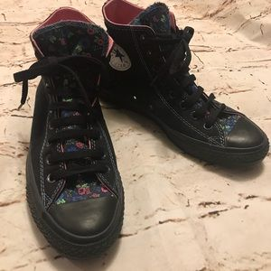 Black Converse with Floral Accents.  Women's 8.5